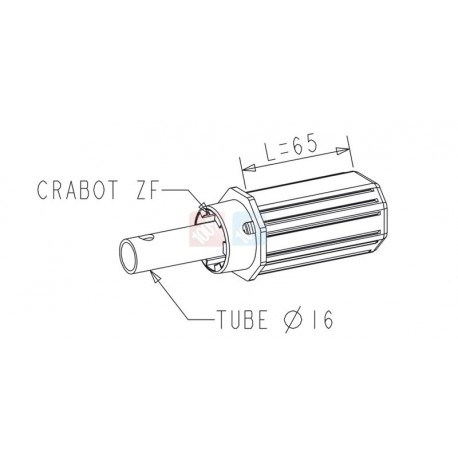 Embout Octo 40 - Crabot / Tube Diam. 16