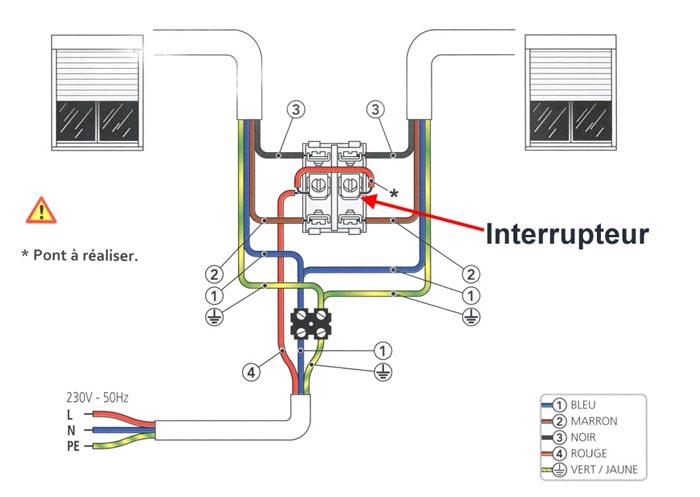 cablage 1 interrupteur pour 2 volets roulants