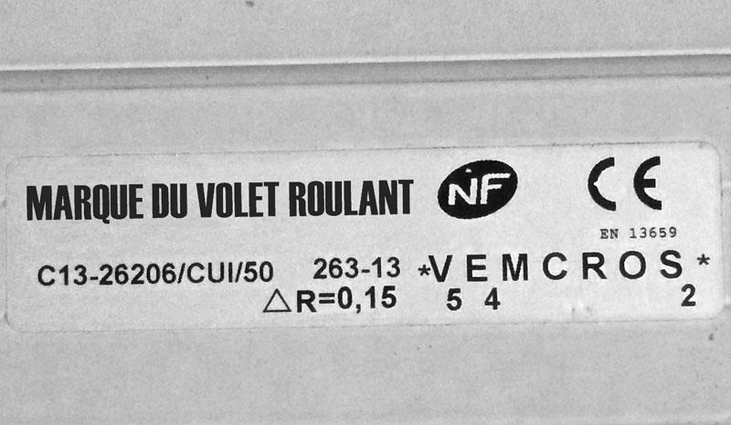 Que Signifie Vemcros 100 Volet Roulant